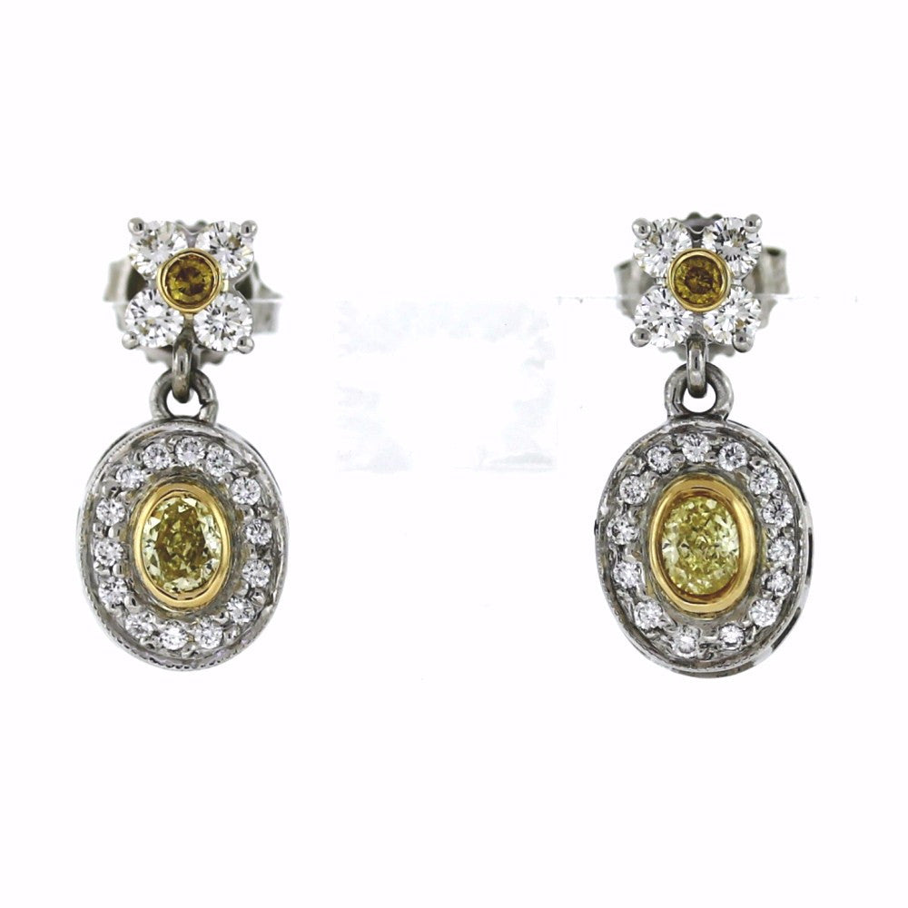 2 Oval Cut Diamonds = .43 Fancy Yellow 2 Round Brilliant Diamonds = .10 Fancy Yellow Diamonds 36 Round Brilliant Diamonds = .80cts 5.95gr, Platinum and 18K Gold Earrings ER3338