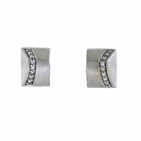Estate 14 Round Brilliant Diamonds = .15ctw 4.2gr, 14K White Gold Earrings ER3345