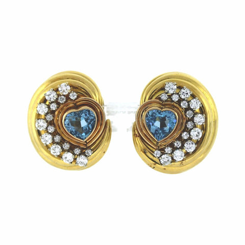 David Webb, 4.5ctw Heart Shaped Aquamarine, 34 Round Brilliant Cut Diamonds = 3ctw, clip, 18K Yellow Gold Earrings ER3350
