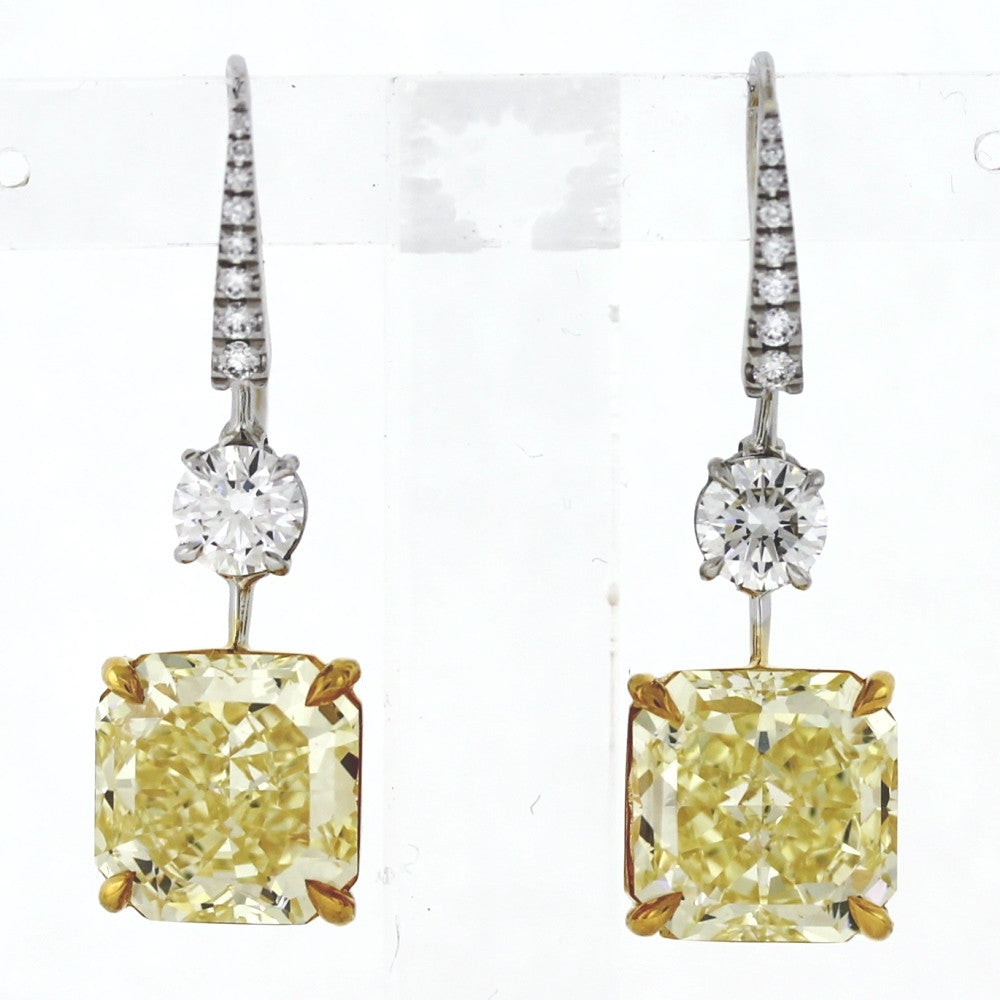 Graff dangle 12.72ctw Fancy Intense Yellow IF GIA 18 Round Brilliant Diamond  = 1.50ctw  9.2gr 6177758101 / 2175850948  Two Tone 18K Gold Earrings ER3444