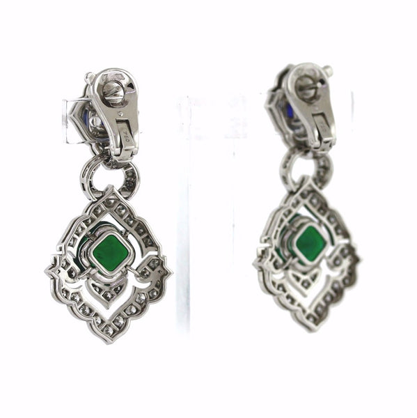 Estate Cartier # 55075F 2 Emeralds = .60 2 Sapphires = 4.63 Diamonds =2.81 24.7gr  Earrings ER3452