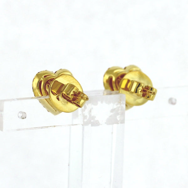 2 Heart Shaped Yellow Sapphires = 2.98ctw GIA 6183101136 38 Yellow Sapphires = .52ctw 5.17gr 18K Yellow Gold Earrings ER3469