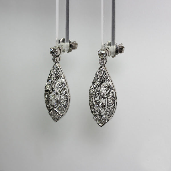 2 European Cut Diamonds = .48ct 4 = .1.06ctw Round Diamonds = .19ctw 7.8g Platinum Earrings ER3488