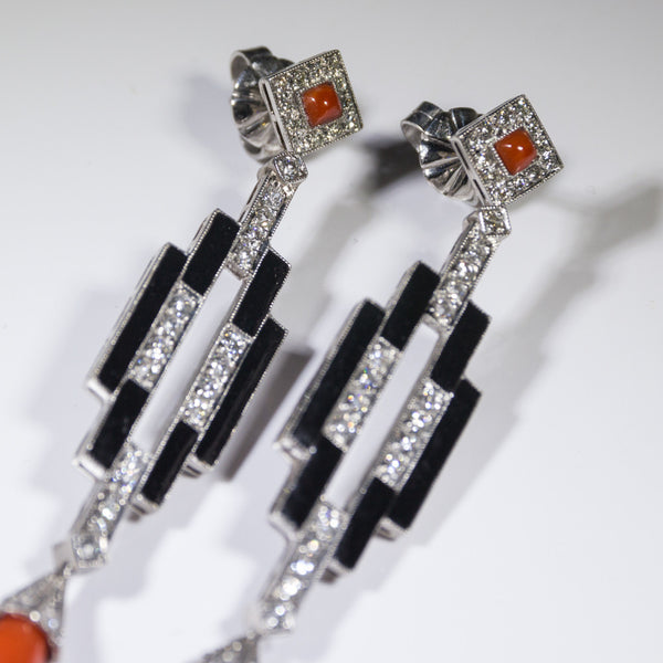 1 Tear Drop Coral 14.51 ctw with Diamond & Onyx Accents 12.9gr Platinum Earrings ER3511