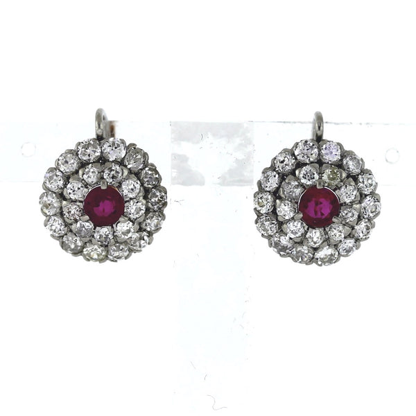 2 Rubies = .81 ct with Round Diamonds = 3.05 ctw 6.1gr 18K Gold & Platinum Earrings ER3512