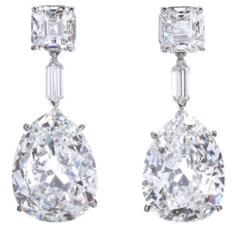 2 Pear Shape = 15.50ctw H VS1 GIA 6167935787 2175030108 Platinum Earrings ERX0030