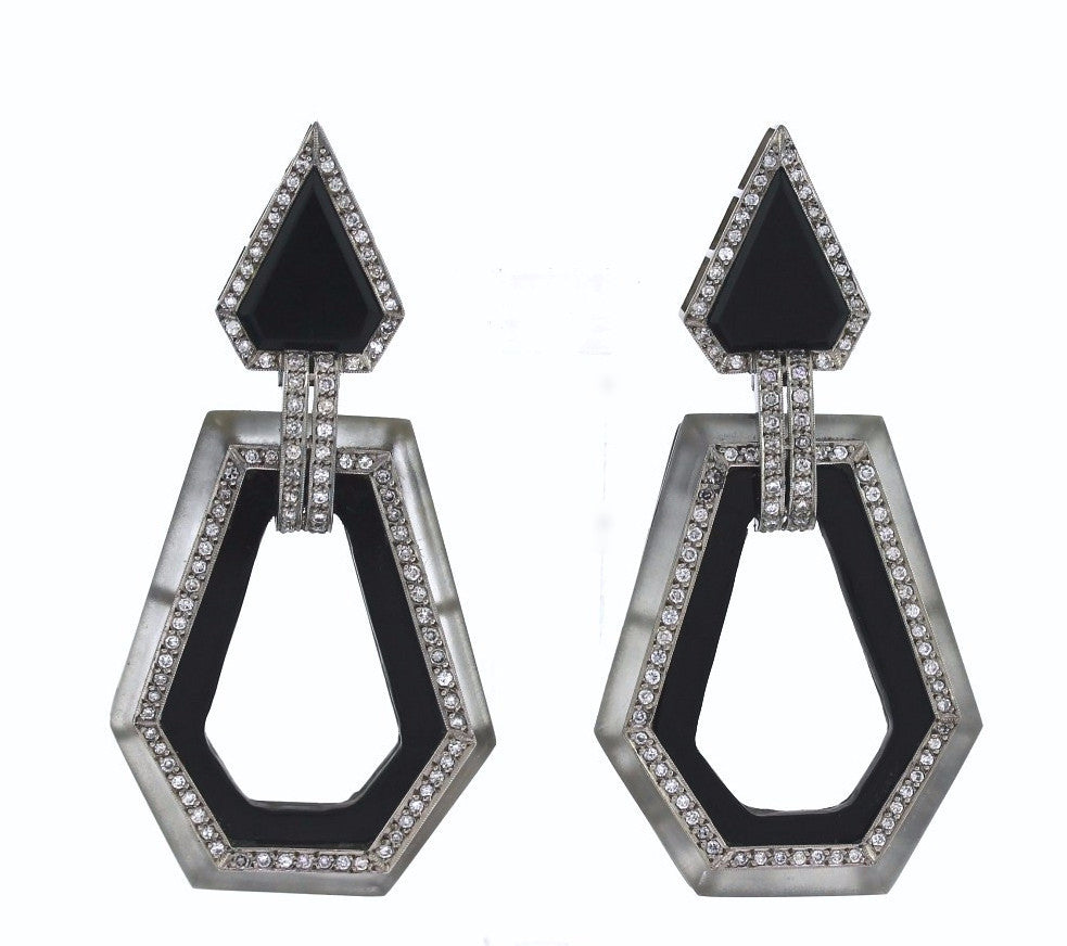 Estate Rock Crystal, Onyx & Diamond Earrings ERX0031