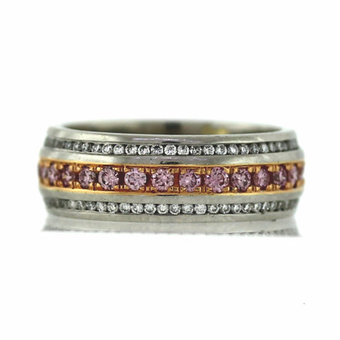 22 Round Brilliant = .47 Fancy Intense Pink 90 Round Brilliant = .40ct White Platinum & 18K Gold Eternity Band GDI3186