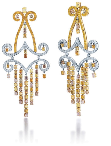 Dangle Oval & Round Brilliant Fancy Yellow, Fancy Pink, and White Diamonds 16.62tw 32.25gr Three Tone 18K Gold Earrings GDI3526