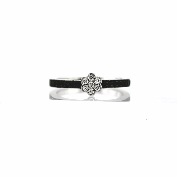 7 Round Brilliant = .13ctw 18 Round Brilliant = 0.29ct Fancy Black 3.54gr Flower Size 7 18K White Gold Lady's Ring LR0221
