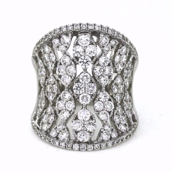 130 Round Brilliant = 3.19 12.60gr 18K White Gold Lady's Ring LR0432