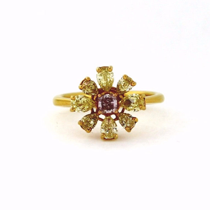 1 Radiant Cut = .21 Fancy Pink SI1 8 Pear Shape = 1.48 Fancy Yellow Intense VS1 18K Yellow Gold Lady's Ring LR0611