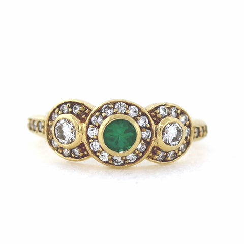 801a06bbd776e Estate Emerald 4mm 44 Round Brilliant   .65 18K Yellow Gold Lady s Ring  LR0622