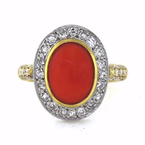 43 Round Brilliant = .75 Coral Two Tone 18K Gold Lady's Ring LR0710