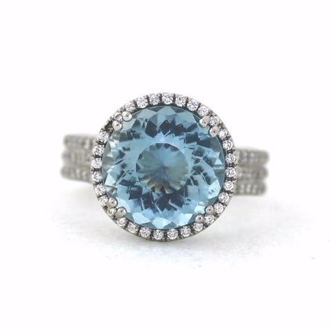 146 Round Brilliant = .58 cwt., 4.39 Aqua fine color 18K White Gold Ring LR0746