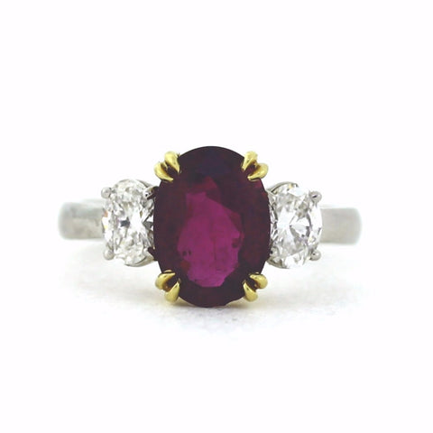 Estate Oval Ruby = 3.37 ct, 2 G VS1 Oval Cut Diamonds = 0.67ct, Platinum and 18K Gold Ring LR0809