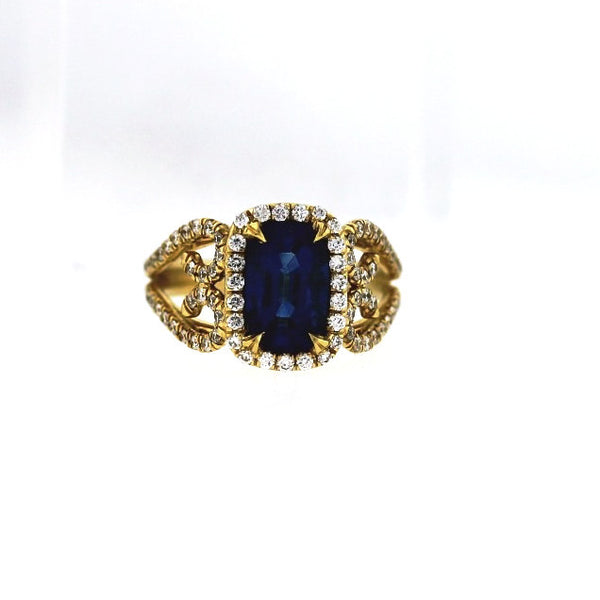 2.39 Blue Sapphire Thai 83 Round Brilliant = .56 4.7gr 18K Yellow Gold Lady's Ring LR0863