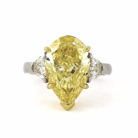 Pear Shape 6.49 ct Fancy Yellow Intense J SI2 and 2 Half Moons = 0.60 ct, Platinum Ring GIA # 2151998637 FC2413 LR0908