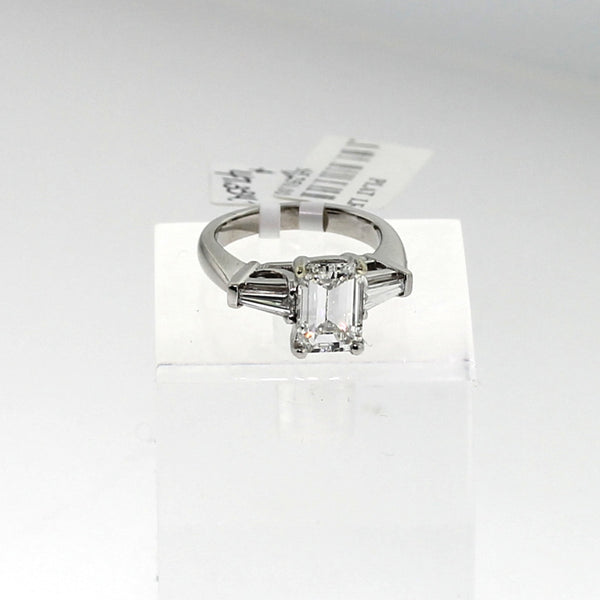 2 Tapered Baguettes, Platinum Lady's Ring LR0984