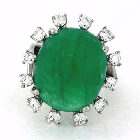 1 Emerald = 27.08cts 12 Round Brilliant = 1.80cts 13 gr 14K White Gold Lady's Ring LR1052