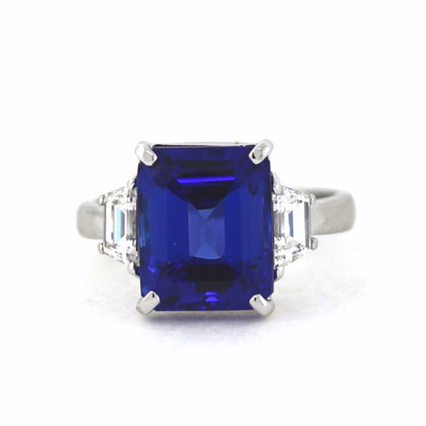2 Topaz = .80ctw 6.67ct Tanzanite Emerald Cut Platinum Lady's Ring LR1063