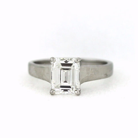 Solitaire 1.98 Emerald Cut Diamond E VS1 Platinum Ring GIA # 1156055596 D15414 LR1089