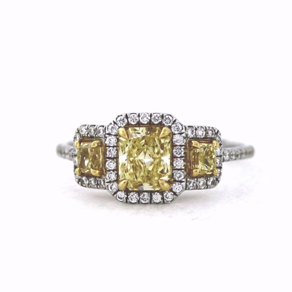62 Round Brilliant = .33 1 Radiant Cut = .80 2 Radiant Cut = .32 GIA Two Tone 18K Gold Lady's Ring LR1119
