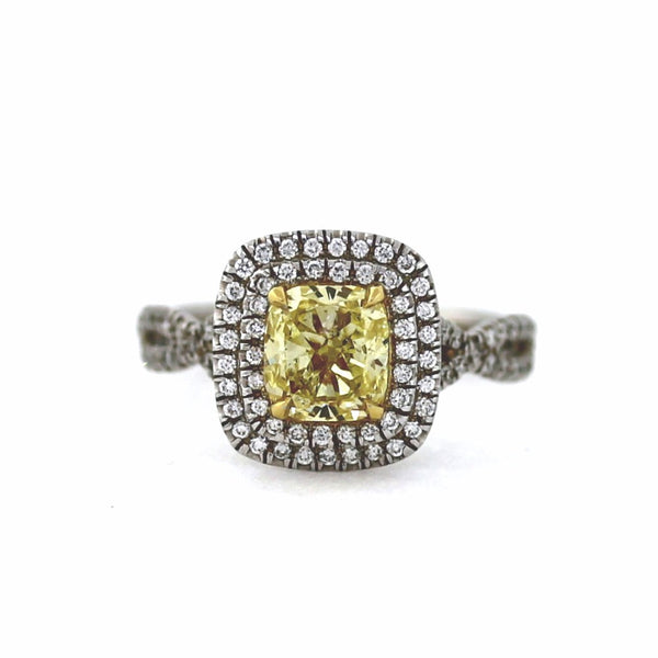 93 Round Brilliant = .36 1 Cushion Cut = 1.25 GIA Two Tone 18K Gold Lady's Ring LR1122