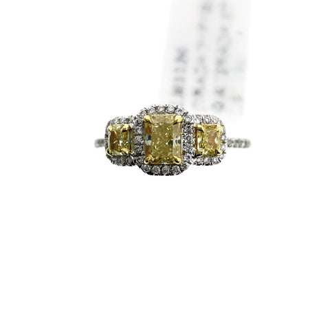 1 = .71 Fancy Yellow SI2 GIA 2 = .37 60 = .26 3.4gr Two Tone 18K Gold Lady's Ring LR1136