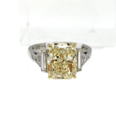 5.21 ct Radiant Cut Diamond Fancy Yellow Light and 2 Trillion Cut Diamonds = 0.13, 2 Straight Baguettes = 0.35, 18K Gold and Platinum Ring GIA # 13348117 FC2347 LR1141