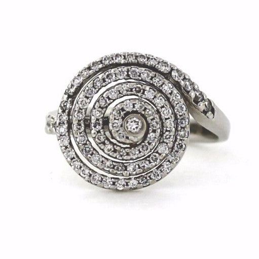 Estate 79 Round Brilliant = .80ctw 5.4gr Spiral 14K White Gold Lady's Ring LR1145