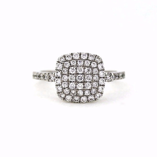 57 Round Brilliant = .76ctw Size 6.5 3.84gr 18K White Gold Lady's Ring LR1155