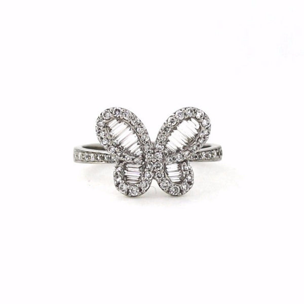 58 Round Brilliant = .43 18 Tapered Baguette = .27 3.56gr Butterfly 14K White Gold Lady's Ring LR1157