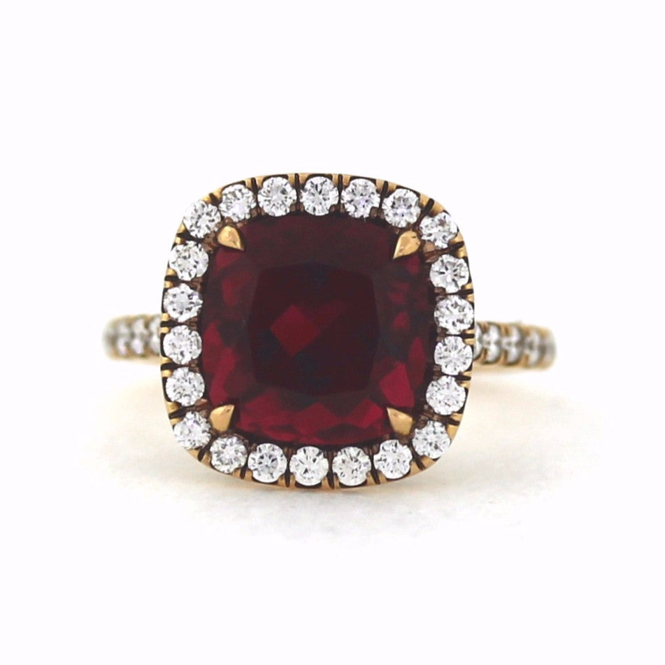38 Round Brilliant = .71ctw 4.16 Red Tourmaline 5.3gr 14K Rose Gold Lady's Ring LR1172