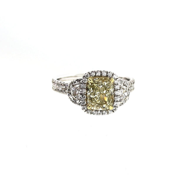 83 Round Brilliant = .36 2 Half Moon = .35 1 Cushion Cut = 1.58 Fancy Yellow Light SI2 4.1gr Two Tone 18K Gold Lady's Ring LR1248