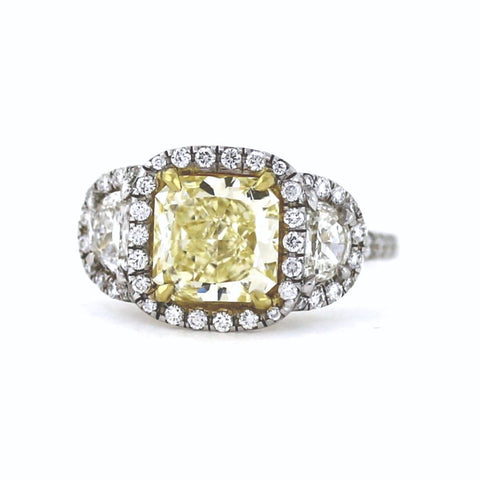 64 Round Brilliant Diamonds = .42 & 2 Half Moons = .39 1.95 Fancy Yellow VVS2 GIA = 1172455213, 4.1gr Two Tone 18K Gold Lady's Ring LR1249, FC2458