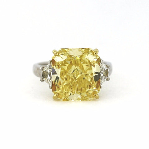 Radiant Cut Diamond 10.12 ct Fancy Yellow Intense, 2 Trapezoids = 0.65 ct, Platinum and 18K Yellow Gold Ring SI1 GIA # 1152549597 FC2342 LR1349