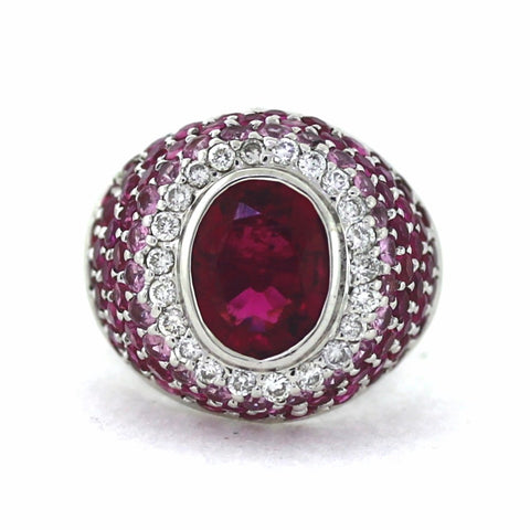Estate Tourmaline & Diamond 22 Round Brilliant = .30 LGS 2 18K White Gold Lady's Ring LR1417