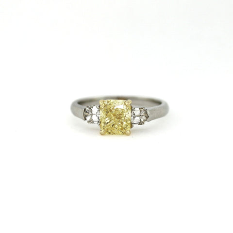 2.00 Fancy Yellow Cushion Diamond SI2 and 2 Bullet Shaped Diamonds = .24 ctw, Platinum and 18K Gold Ring GIA # 2136496153 FC2323 LR1465