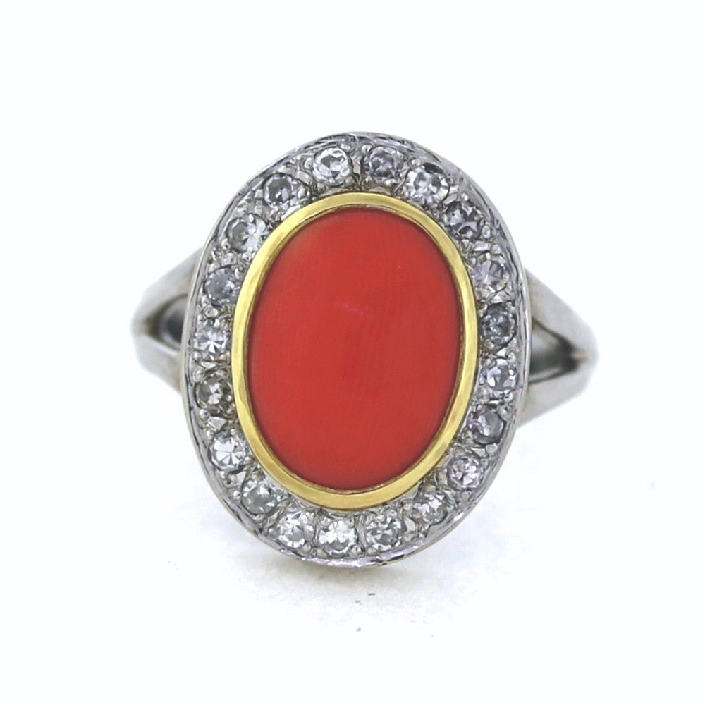 Estate Red Coral & Diamond .45ctw 6.7gr 14K White Gold Lady's Ring LR1481
