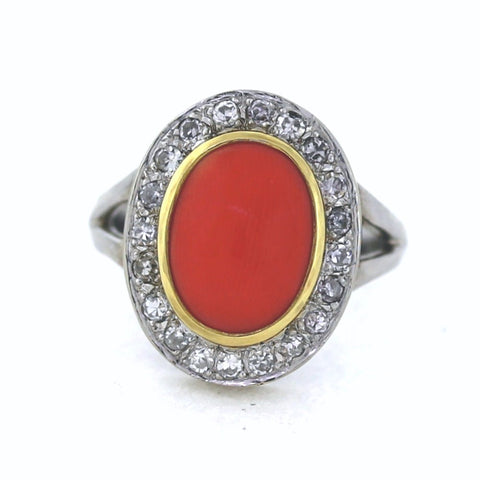 Estate Red Coral & Diamond .45ctw 14K White Gold Lady's Ring LR1482