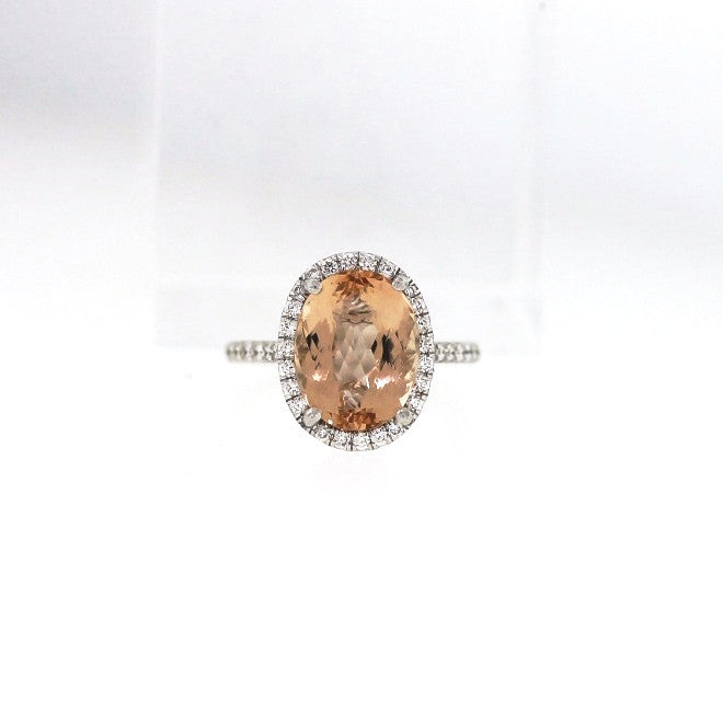 71 Round Brilliant = .50ctw Imperial Topaz = 6.25 3.6gr Oval 18K White Gold Lady's Ring LR1491
