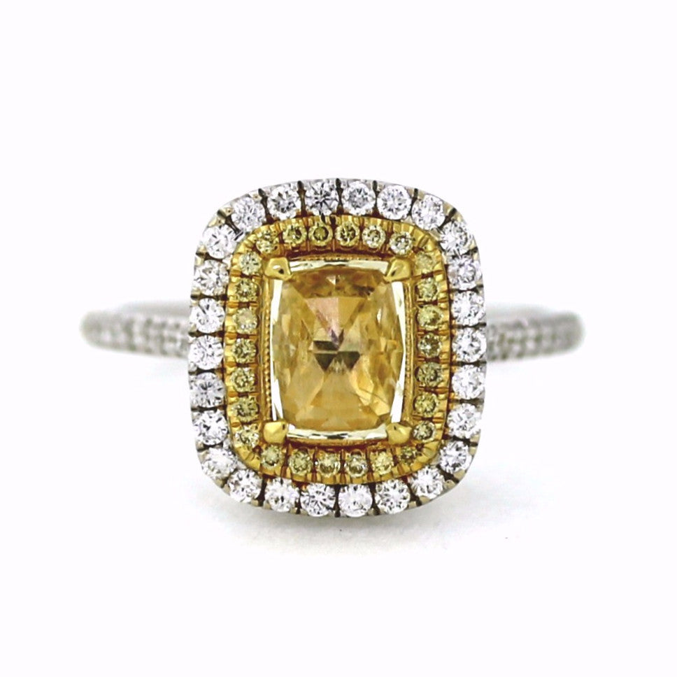 Estate 1 Cushion Cut = .73 Fancy Yellow 132 Round Brilliant = .63 26 Fancy Yellow = .11 GIA 2161281338 Two Tone 18K Gold Lady's Ring LR1544