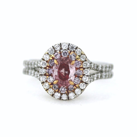 .50 ct Oval Cut Fancy Pink Intense Diamond VS1 and 12 Round Brilliant = .21 ct. Fancy Pink, 80 Round Brillinat = .75, Two Tone 18K Gold Ring GIA # 2151817082 FCX0034 LR1555