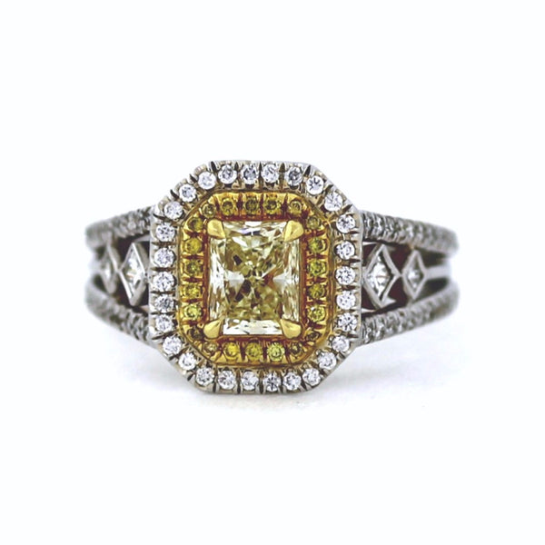 Estate 85 Round Brilliant = .27 22 Fancy Yellow = .07 6 Princess Cut = 021 & 1 Radiant Cut = .71 Fancy Yellow Light Two Tone 18K Gold Lady's Ring LR1628