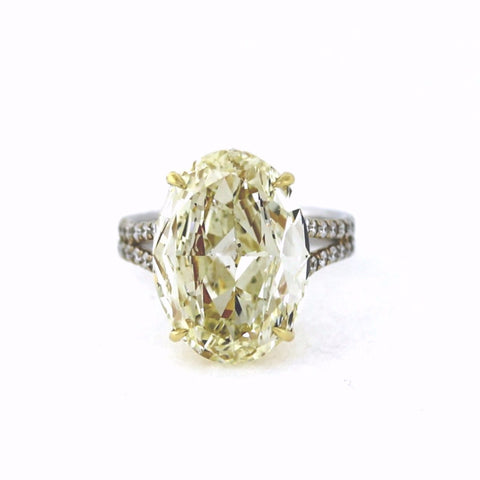 10.01ct Fancy Light Yellow Diamond Oval SI2 1 Stones &  0.65ctw Diamond Round 52 Stones 18K 2 Tone Gold 6.60gr Ring LR1647