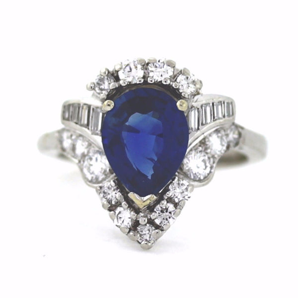 Estate & Round Brilliant = 1.00 1 Pear Shape Sapphire = 2.49 Platinum & 14K Gold Lady's Ring LR1660