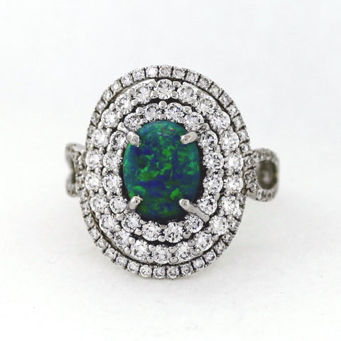 Black Opal 1.66 cts and 102 Round Brilliant Diamonds = 1.80 ctw Oval Cut Diamonds 6.24g 18K White Gold Lady's Ring LR1686