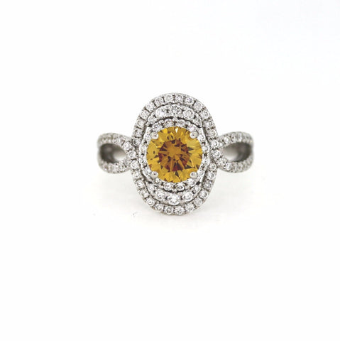1.52 ct. Round Brilliant Diamond Fancy Deep Brownish Orangy Yellow SI2 and 88 Round Brilliant Diamonds = .87 ctw, 18K White Gold Ring GIA # 2151053624 FC2281 LR1687