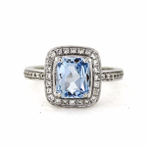 Estate 43 Round Brilliant = .50cts 1.85 Cushion Cut Aquamarine Kobelli Hand Engraved 18K White Gold Lady's Ring LR1739